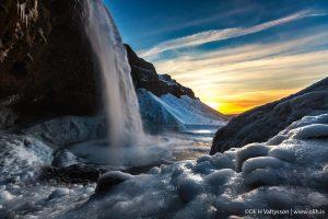 Seljalandfoss waterfall in winter