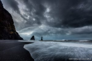 Dark clouds over the sea in South Iceland