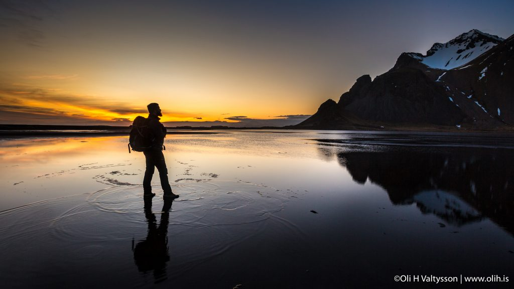 Hiking Photography in Iceland - man in the sunset