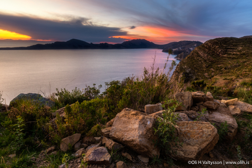 You can captures a perfect sunset at Isla del Sol on Lake Titicaca.