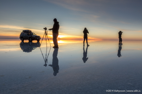 Mirroring. Our photography workshop's participiants are capturing the Salt Flats in Bolivia.